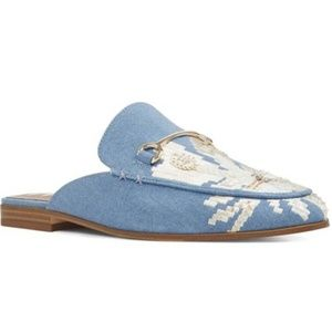 Nine West Willona Denim Sequin Embroidered Mules 7